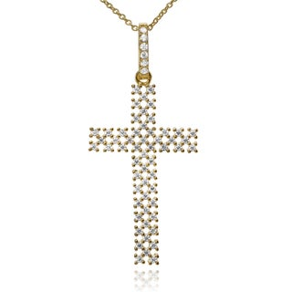 Journee Collection Sterling Silver CZ Open Checkered Cross Pendant