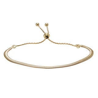 Journee Collection Plated Sterling Silver Adjustable Snake Chain Bracelet