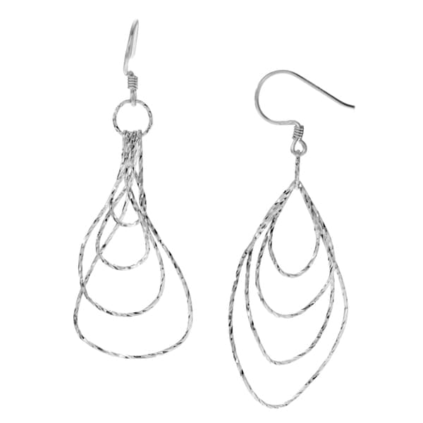 eb31c1fe98f696 Journee Collection Sterling Silver Diamond-cut Multi-teardrop Dangle  Earrings