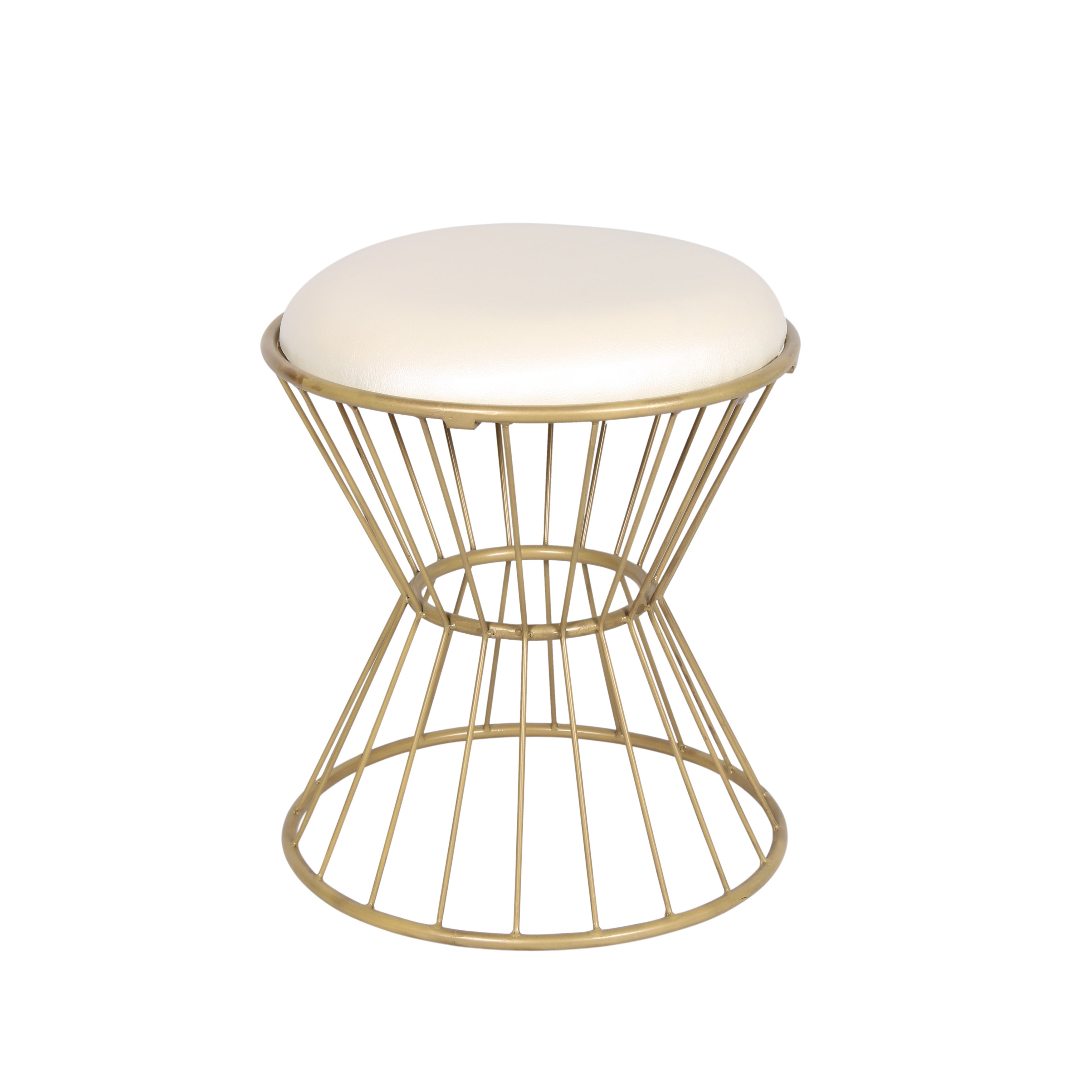 Off White Faux Leather Wire Frame Stool Free Shipping On