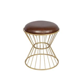 Choco Faux Leather Wire Frame Stool