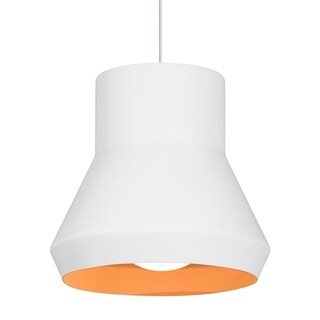 LBL Milo 1 light White Outside with Orange Inside Incandescent Suspension
