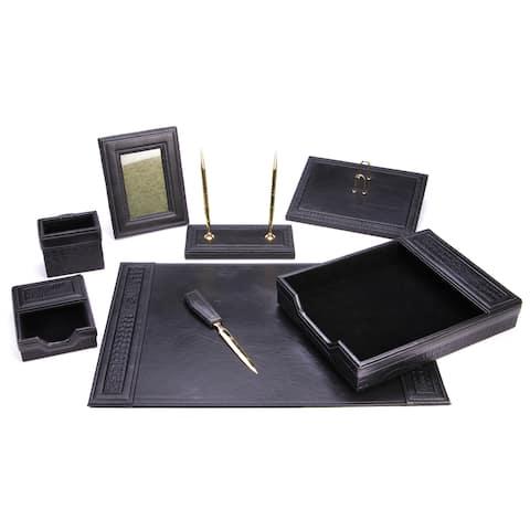 8 Piece Black Eco-Friendly Leather Desk Set