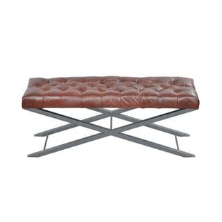 Artisan Brown Bonded Leather Cross Metal Bench
