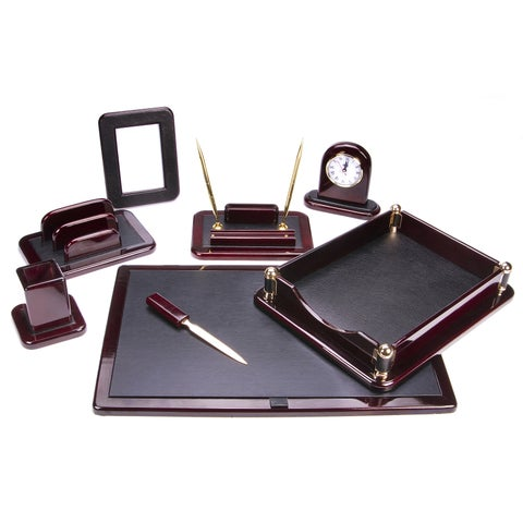 Dark Mahogany Oak Wood 8-Piece Desk Set