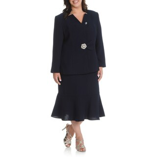 Giovanna Signature Women's Plus Size 2-piece Mandarin Collar, Colum Skirt Suit