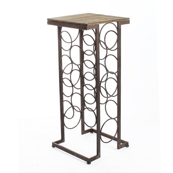 adeco black iron and walnutcolor wood tall rectangular wine rack end table holds - Wine Rack Table