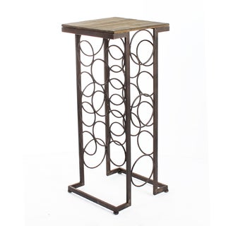 Adeco Black Iron and Walnut-Color Wood Tall Rectangular Wine Rack End Table, Holds 11 Regular-Size Wine Bottles