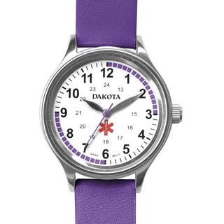 Dakota Women's Nurse MIdsize Fun Color Purple Leather Watch