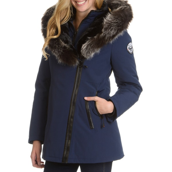 Women's Down Jacket with Faux Fur Trim Hood - Free Shipping Today ...