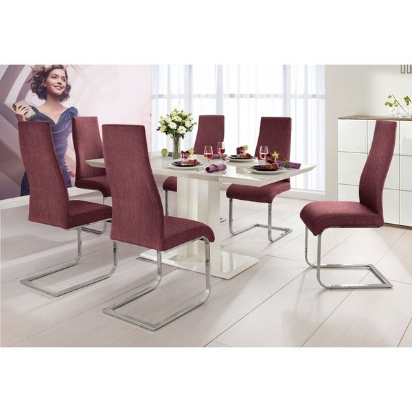 Upholstered Fabric Chrome Dining Chair
