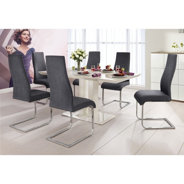 scandinavian lifestyle marcello upholstered fabric chrome dining chair pack of 2 17645949. Black Bedroom Furniture Sets. Home Design Ideas