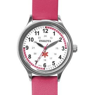 Dakota Women's Nurse MIdsize Fun Color Pink Leather Watch|https://ak1.ostkcdn.com/images/products/10568714/P17645955.jpg?impolicy=medium