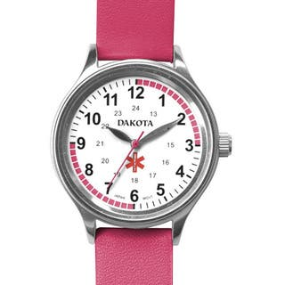 Dakota Women's Nurse MIdsize Fun Color Pink Leather Watch