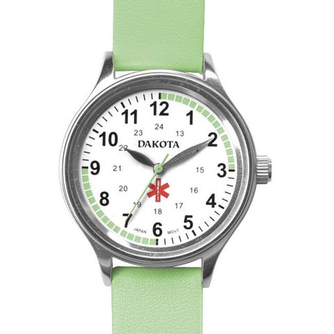 Dakota Women's Nurse MIdsize Fun Color Lime Leather Watch