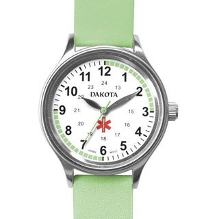 Dakota Women's Nurse MIdsize Fun Color Lime Leather Watch