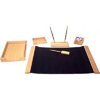 Elegant 6-Piece Natural Oak Wood Desk Set