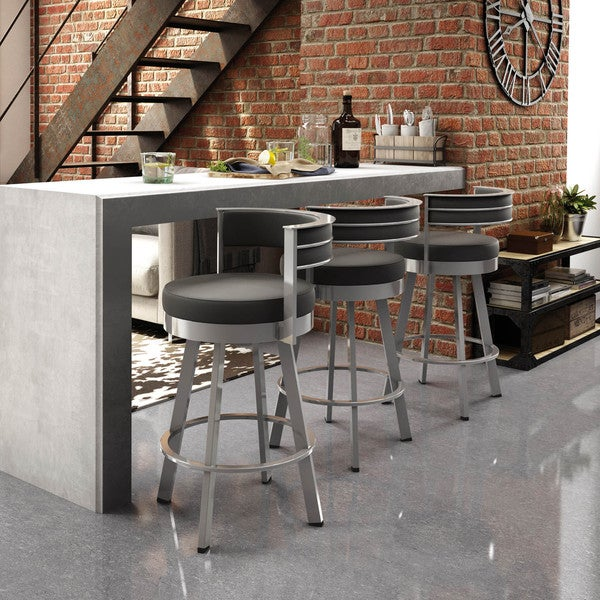 Amisco Browser 26 Inch Swivel Metal Counter Stool Free