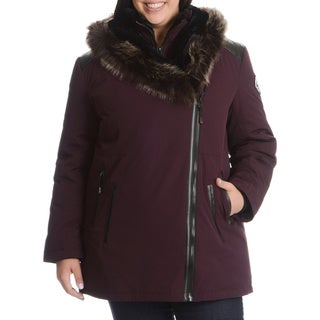 Women's Plus Size Down Jacket with Faux Fur Trim Hood