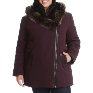 Nuage Women's Plus Size Down Jacket with Faux Fur Trim Hood