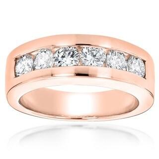 Luxurman 14k Gold Men's 1 1/2ct TDW Round Diamond 6-stone Wedding Band (G-H, SI1-SI2)