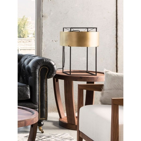 Aurelle Home Rustic Industrial Brass Table Lamp
