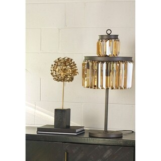 Aurelle Home Benelli Amber Crystal Table Lamp