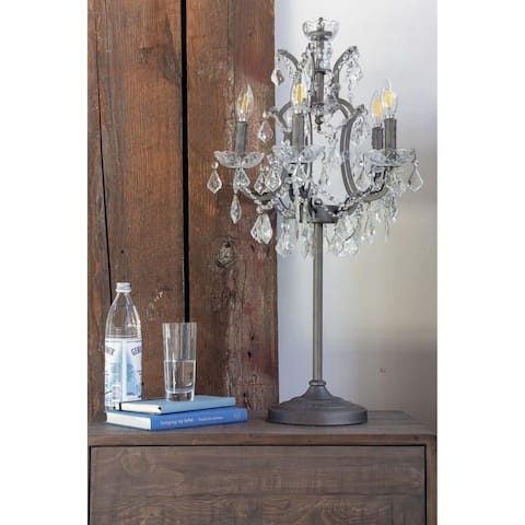Aurelle Home Handcrafted Crystal Table Lamp