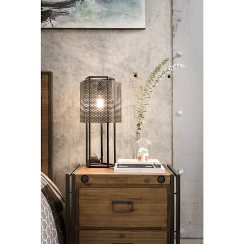 Aurelle Home Farmhouse Rustic Black Iron Table Lamp