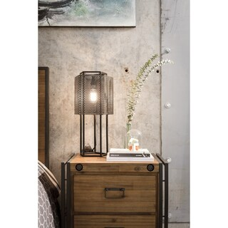 Aurelle Home LaraBeth Farmhouse Rustic Black Iron Table Lamp