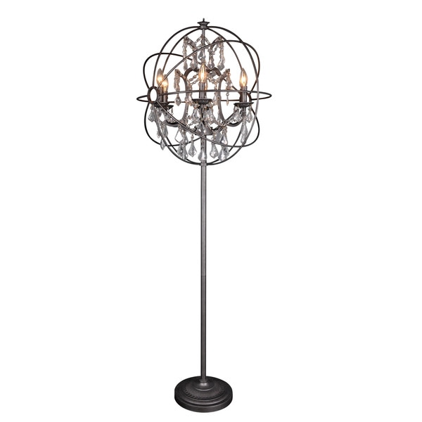 Aurelle Home Iron & Crystal Sphere Floor Lamp