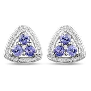 Olivia Leone Sterling Silver 5/8ct Genuine Tanzanite Diamond Accent Earrings