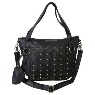 Amerileather Dinodaria Leather Zippered Shoulder Handbag
