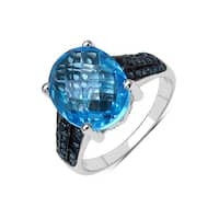 Olivia Leone Sterling Silver 5 1/4ct Swiss Blue Topaz and Blue Diamond Sterling Silver Ring