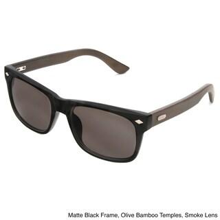 Hot Optix Men's Classic Fashion Combo Plastic/ Rayon from Bamboo Sunglasses - Black - Medium (Option: Green/Black - Smoke)