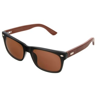 Hot Optix Men's Classic Fashion Combo Plastic/ Rayon from Bamboo Sunglasses - Black - Medium