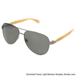 Hot Optix Fashion Men's Classic Aviator Metal and Bamboo Sunglasses