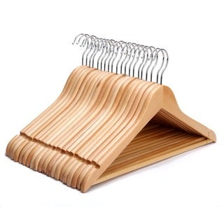 J.S. Hanger Eisho-E-017 Natural Finished Multifunctional Solid Wooden Suit Hangers/Coat Hangers Set of 20
