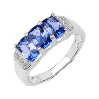Olivia Leone Sterling Silver 1 5/8ct Genuine Tanzanite Diamond Accent Ring