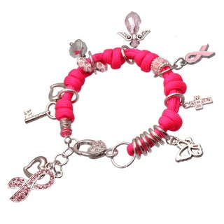 Bleek2Sheek Handmade Breast Cancer Silver, Pink, White Rhinestone Crystal Heart Cross Angel Ribbon Dangle Charm Bracelet