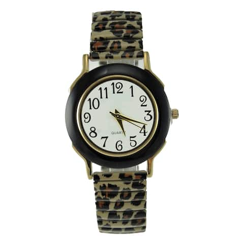 Women's Animal Print Stretch Band Watch Black Faux Marble Case White Dial Black Arabic Numberals