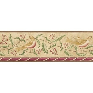 Red Feathered Folk Wallpaper Border