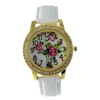 Pastel Floral Dial Watch Crystal Bezel Gold Case White Faux Leather Band