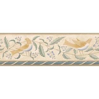 Blue Feathered Folk Wallpaper Border