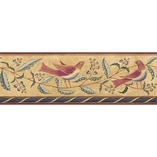 Brown Folk Art Bird Wallpaper Border