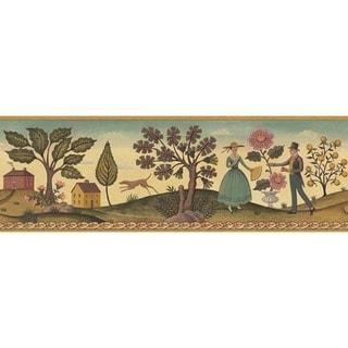 Beige Hopewell County Wallpaper Border