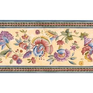 Blue Jacobean Floral Wallpaper Border