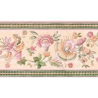 Pink Jacobean Floral Wallpaper Border