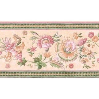 Pink Jacobean Floral Wallpaper Border