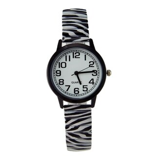 Women's Stainless Steel Stretch Band Zebra Print Easy Reader Watch